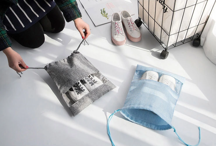 Drawstring Shoe Bags Gray And Blue