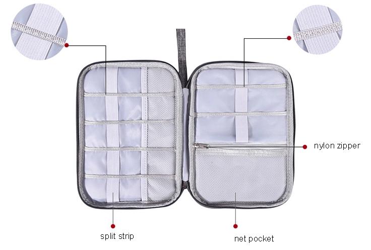 Travel Cable Organizer Zipper