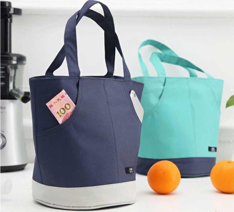 cooler tote bag navy blue green