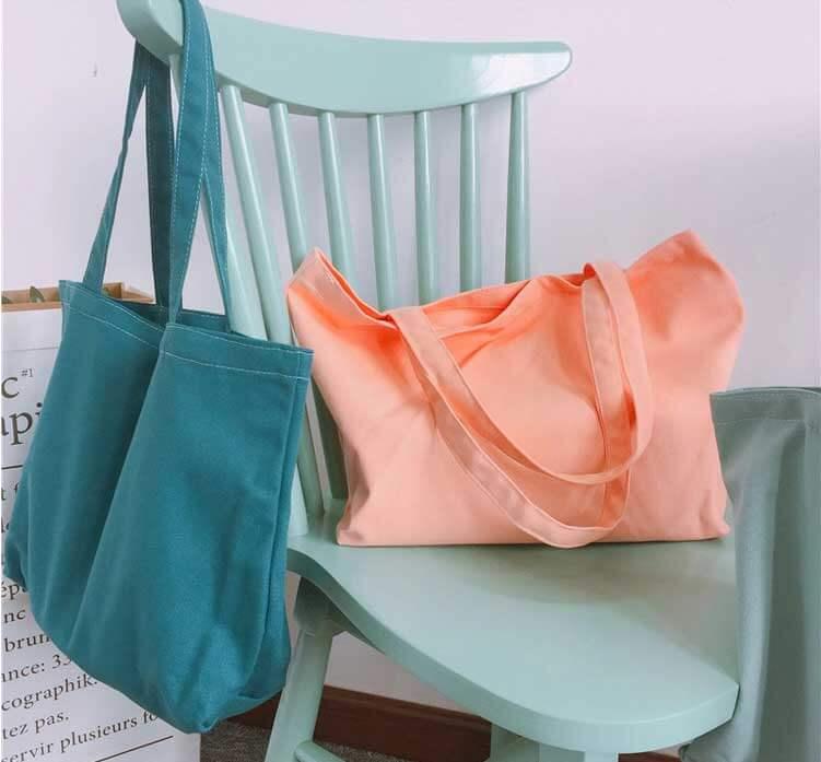 custom shopping bags wholesale peach and blue