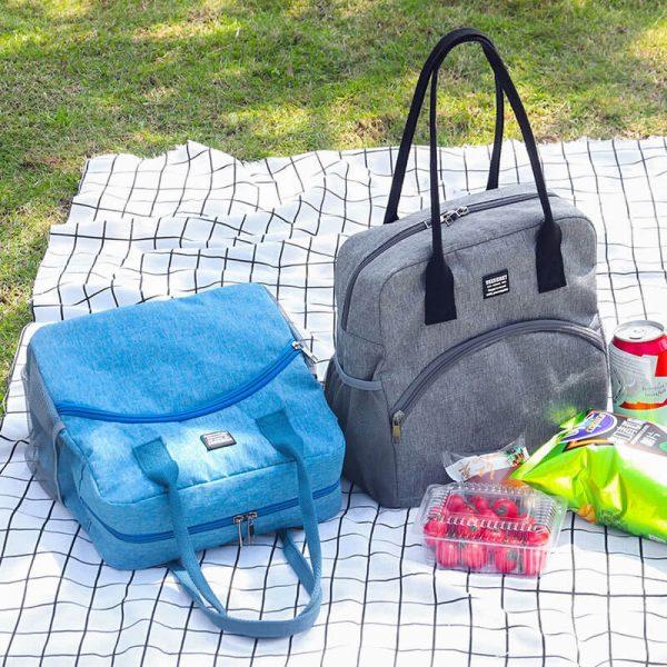 picnic tote bag blue and gray