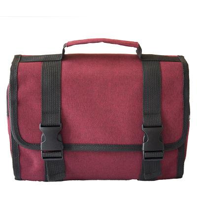 red hanging washbag